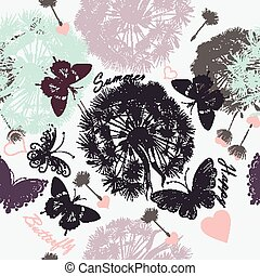Beautiful seamless floral  background with dandelions and butterflies in pastel colors.eps