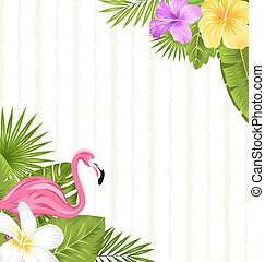 Beautiful seamless floral pattern background with pink flamingo, tropical flowers and plants