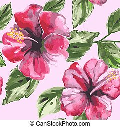 Beautiful seamless floral pattern background with watercolor pink tropical flowers and  leaves