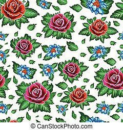 Beautiful seamless floral pattern with roses background.