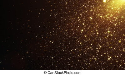Beautiful Seamless Gold Shimmering Particles In The Air with Lens Flares, Black Background, Slow Motion. Bright Dynamic Particles Floating in the Wind with Bokeh 3d Animation. 4k Ultra HD 3840x2160