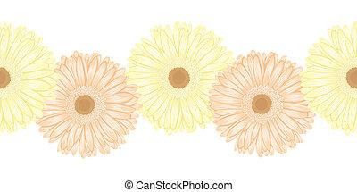 Beautiful seamless horizontal frame element of gerbera flower