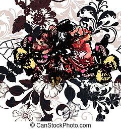 Beautiful seamless illustration with azalea flowers and ...