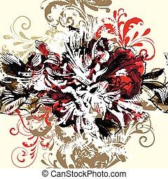 Beautiful seamless illustration with azalea flowers and...