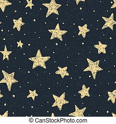 Beautiful seamless night sky pattern with textured stars, hand drawn