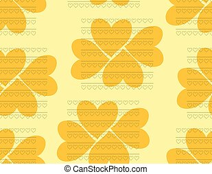 Beautiful seamless pattern of hearts in orange and yellow colors