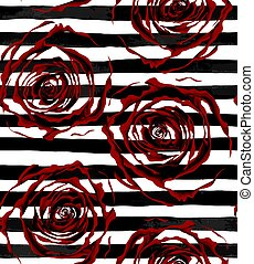 beautiful seamless pattern outline of red roses on striped black and white background.
