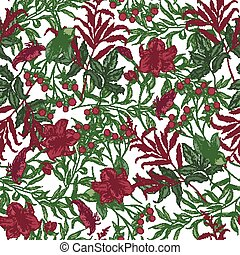 Beautiful seamless pattern with beautiful red blooming garden flowers, berries and leaves on white background. Elegant floral backdrop. Botanical vector illustration for wrapping paper, fabric print.