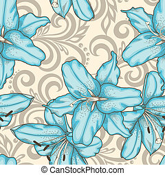 seamless pattern with blue lilies flowers and abstract floral swirls
