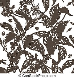 Beautiful seamless pattern with coffea or coffee tree branches, leaves, blooming flowers and fruits on white background. Contour vector illustration in antique style for fabric print, wallpaper.