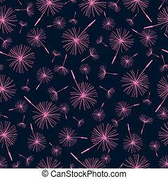 Beautiful seamless pattern with dandelion fluff