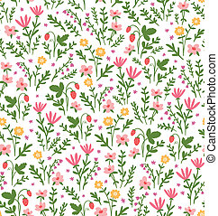 Beautiful seamless pattern with field flowers and strawberry