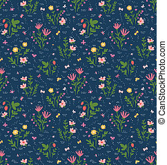 Beautiful seamless pattern with field flowers, strawberry and butterflies
