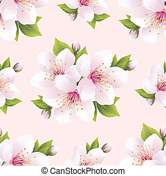 Beautiful seamless pattern with flowers sakura