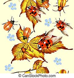 Beautiful seamless pattern with foliage and beetles
