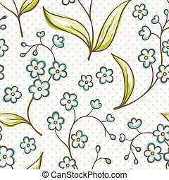 Beautiful seamless pattern with Forget-me not flowers. Vector background.