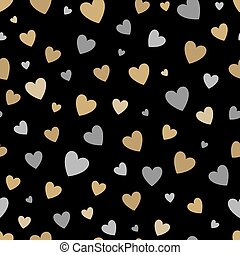 beautiful seamless pattern with gold and silver glittering hearts on black background.