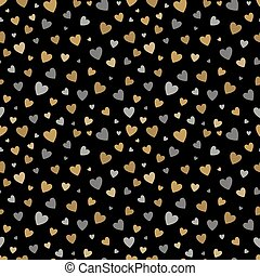 beautiful seamless pattern with gold and silver glittering hearts on black background. design for holiday greeting card and invitation of the wedding, Happy Valentine's day, birthday and mother's day.