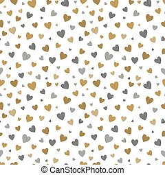 beautiful seamless pattern with gold and silver glittering hearts on white background. design for holiday greeting card and invitation of the wedding, Happy Valentine's day, birthday and mother's day.