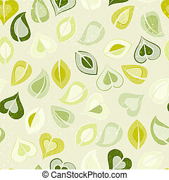 Beautiful seamless pattern with green leaves