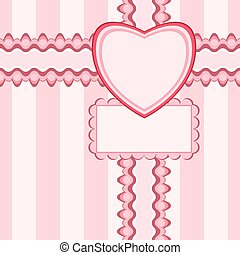 Beautiful seamless pattern with lace and card in pink color