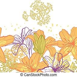Beautiful seamless pattern with lilies.