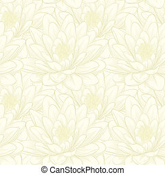 seamless pattern with lotus flowers. Hand-drawn contour...