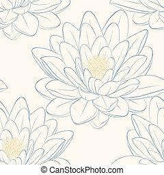 Beautiful seamless pattern with lotus flowers. Hand-drawn...