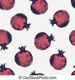 Beautiful seamless pattern with red pomegranates hand drawn in elegant antique style. Ripe fresh fruits on light background. Natural vector illustration for wrapping paper, fabric print, wallpaper.