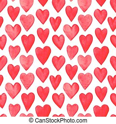 Beautiful Seamless pattern with red watercolor hearts.
