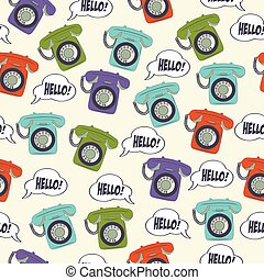 seamless pattern with retro phone