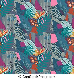 Beautiful seamless pattern with ropical jungle palm leaves...