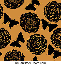 Beautiful seamless pattern with roses and silhouettes of butterflies.  in a hand-drawn graphic style in vintage colors