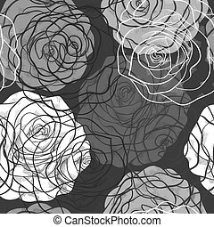 beautiful seamless pattern with roses  in a hand-drawn graphic style in black-white colors