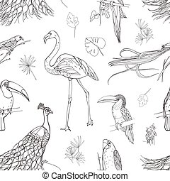 Beautiful seamless pattern with tropical birds and exotic leaves hand drawn with contour lines on white background. Monochrome vector illustration for wallpaper, fabric print, wrapping paper.