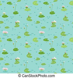 Beautiful Seamless Pattern with Water Lillies, use for Baby Background, Textile Prints, Covers, Wallpaper, Posters. Vector Illustration
