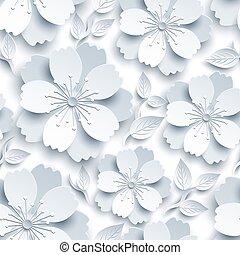 Beautiful seamless pattern with white-grey sakura