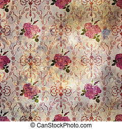 Beautiful seamless pink rose pattern grunge old style with baroque background