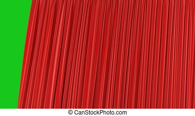 Beautiful Seamless Red Single Curtain Opening and Closing on Green Screen. Looped 3d Animation Abstract Realistic Curtain Revealing Background. Useful for Transitions Alpha Mask 4k UHD
