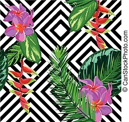 Beautiful seamless tropical jungle floral pattern background with palm leaves