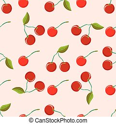 Beautiful seamless vector pattern with cherries berries