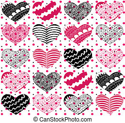 Beautiful seamless vector pattern with hearts
