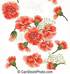 Beautiful seamless vector pattern with red poppy flowers in watercolor style.eps