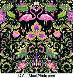 Beautiful seamless wallpaper with exotic flowers, tropical leaves and pink flamingo for carpet, fabric, textile and wrapping paper