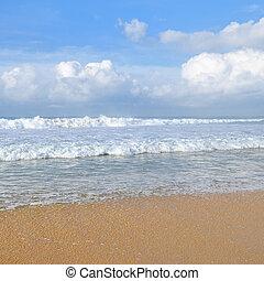Beautiful seascape and blue sky background.