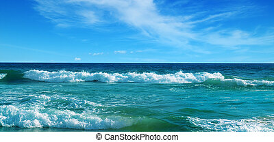 Beautiful seascape and blue sky. The concept is travel. Wide photo.