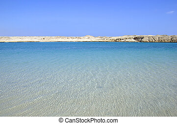Beautiful seascape and desert landscape. Beauty in nature.
