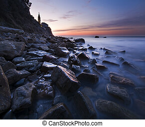 seascape - beautiful seascape at dusk in Piran - Slovenia