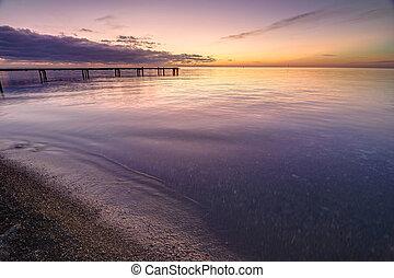 Beautiful seascape at sunset, black sea, Anapa, Russia