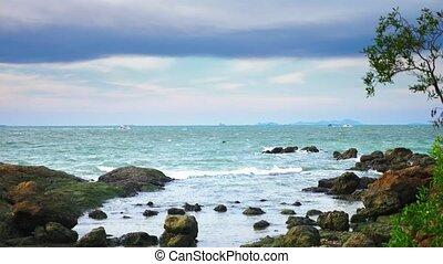 beautiful seascape, boats in the sea against the blue sky.
